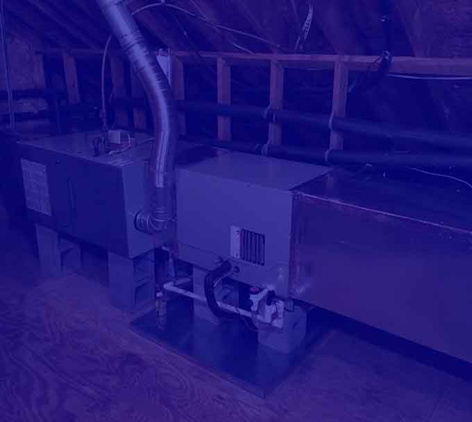 Furnace in attic with blue overlay